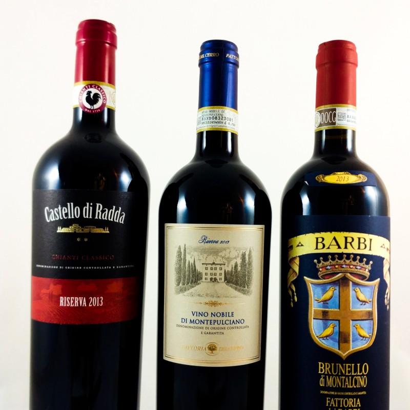 PROEFPAKKET:  Drie Toscaanse appellaties (sangiovese druif)